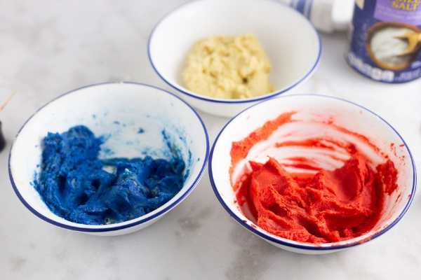 red, white, and blue dough