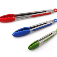 Stainless Steel Silicone BBQ and Kitchen Tongs