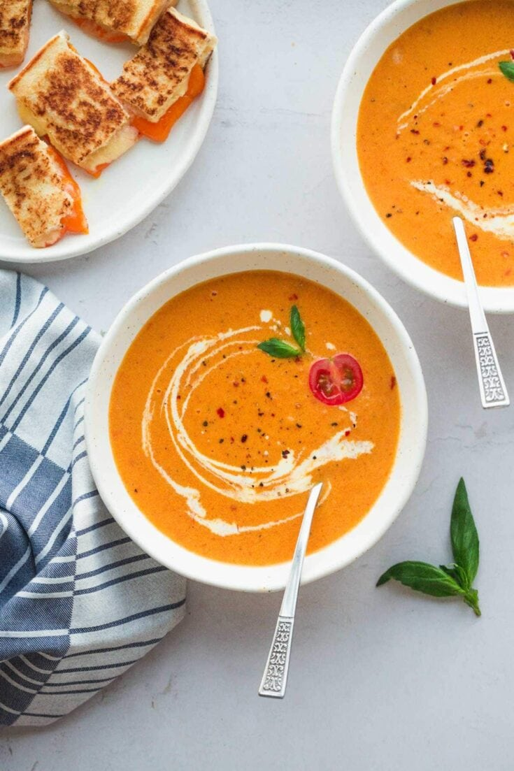 Creamy Tomato Bisque (with grilled cheese croutons!)