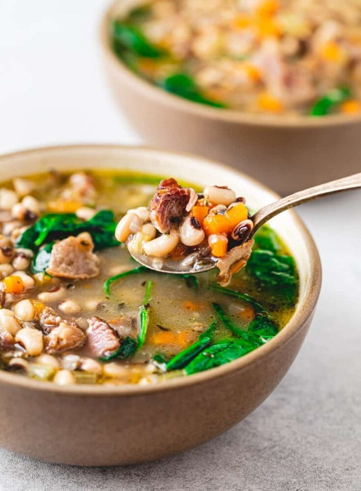 Instant Pot Black-Eyed Pea Soup with Ham Hock and Spinach