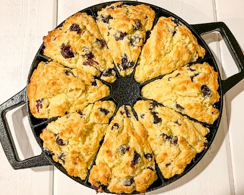 bakery style blueberry scones in pan
