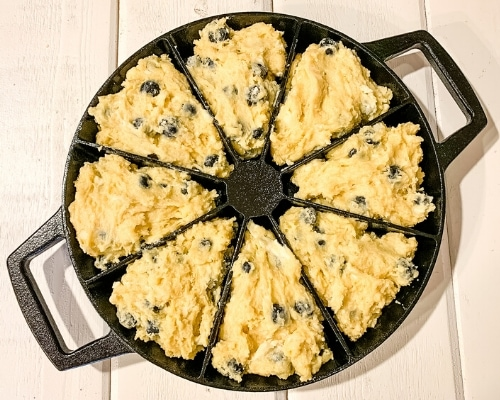 blueberry scone dough in scone pan