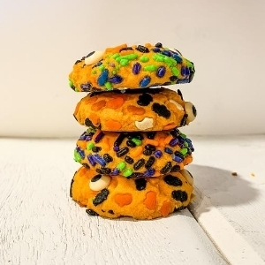 stack of halloween sprinkle cookies