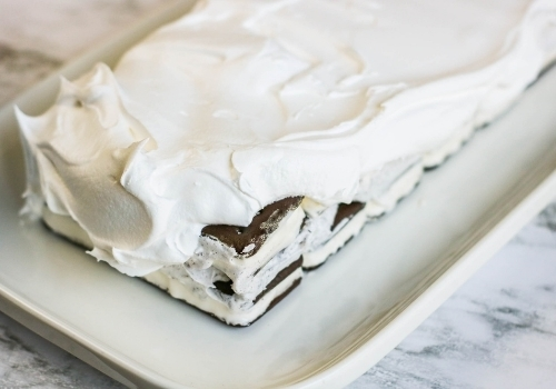 frosted cake with whipped topping